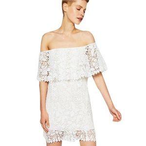 Zara White Guipure Off Shoulder Lace Dress